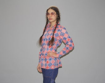 1970s Vintage Red White and Blue Hippie Handkerchief Button Up Blouse  - Vintage 60s Tops  - 70s Festival Tops - WT0422