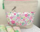 Liberty of London 'Party Bird' project bag with silk tassel ..... Lauren Pink