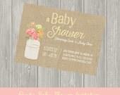 Rustic Baby Shower Invitation, Gender Neutral Baby Shower, Baby Girl, Baby Boy, Canning Jar, Farm, Floral, Vintage