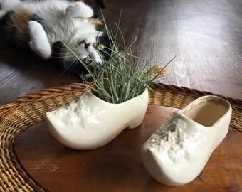 Vintage shoe planter, ceramic dutch shoe with flowers, air plant, succulent planter