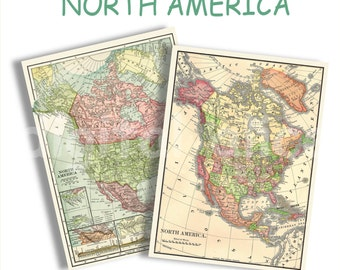 Map of North America USA Canada and Mexico Typographic Map