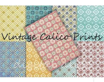 VINTAGE CALICO Prints - Digital Paper Pack -9  Printable Papers-1940 Wallpaper -Instant Download Digital Printable