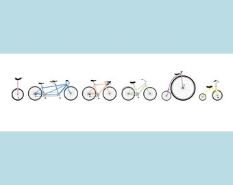 """Bikes Together! - Limited Edition Panorama Screenprint (12""""x36"""")"""