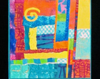 Triptych mixed media collage southwestern santa fe turquoise trail purple yellow gold magenta blue orange abstract New Mexico