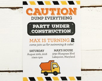 Construction Birthday Party Invitation - Digital Printable