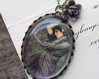 Boreas Necklace. John William Waterhouse. (magnifying pendant art book illustration jewelry antique romantic Shakespeare jewellery)