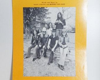 Vintage Sheet Music Lynyrd Skynyrd Free Bird 1970's Southern Rock Music Vintage Paper Ephemera