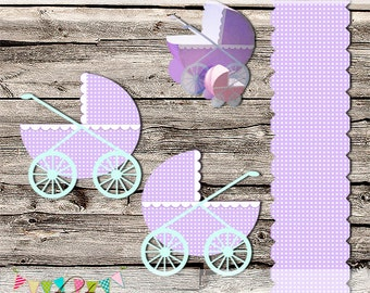 Jumbo Baby Carriage - Stroller - Buggy - Baby Shower - Gift Box - DIY - Printable - Digital File