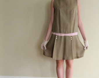 Vintage 1960s Drop Waist Sleeveless Dress / 60s Does 20s Beige Summer Dress / Medium