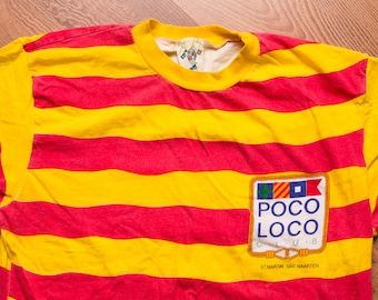 Poco Loco Club T-Shirt, Red & Yellow Striped, St. Maarten, Vintage 90s