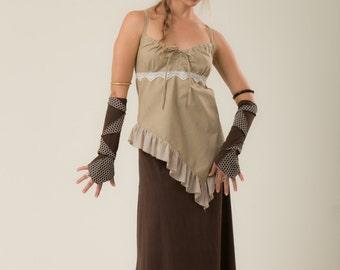 Ruffled gypsy top - Bohemian linen top - summer top - festival clothes - goa top