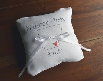 State Love Personalized Ring Pillow, Wedding Ring Pillows