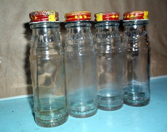 """Bottles Set of 4 vintage MILANI'S small glass bottles with screw on metal lids each measures 4 1/2"""" bud vases, glass crafting, storage"""