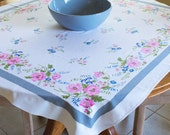 Mid-century Printed Tablecloth, Floral Pink, Cornflower Blue, and Avocado, with Gray Border, Starmont by Startex