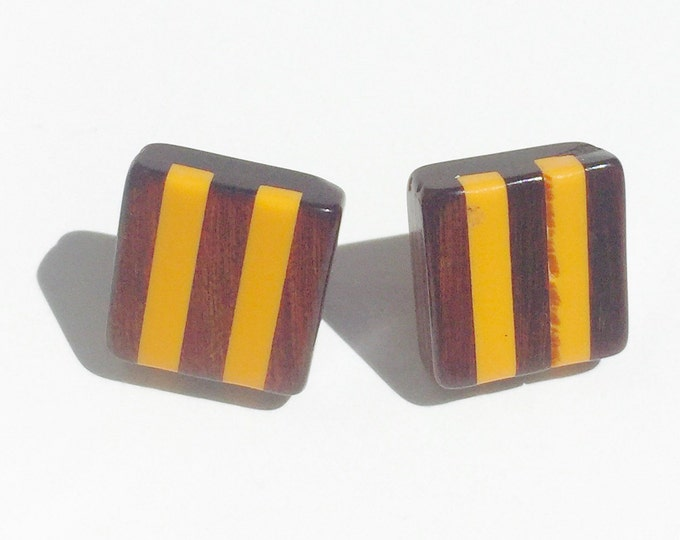 unique retro wood inlay bright orange 70s 1970s square stud earrings box shape vintage stripe jewelry gift earring studs indie hipster retro