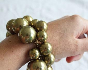 Bobble Bracelet,  Gold Circle Bracelet, Bangle, 1970s