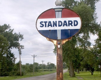Classic Red White and Blue Standard Oil Gas Station Sign