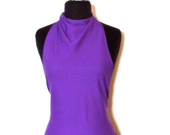 vintage purple halter top - 1960s-70s tie-back halter top