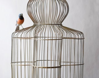 Vintage Birdcage Dome Top Wire Parrot Cage 27""