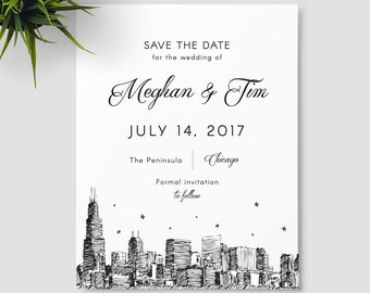 Chicago Skyline save the date, the windy city; SAMPLE ONLY