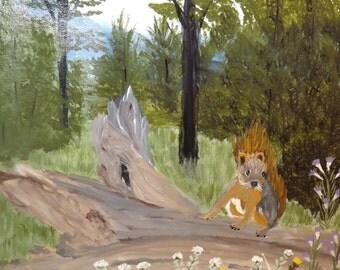 Squirrel on Log!