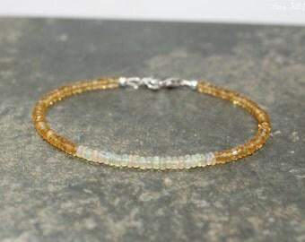 Citrine & Welo Opal Bracelet, Opal Jewelry, Gemstone Bracelet, October Birthstone, Gemstone Jewelry
