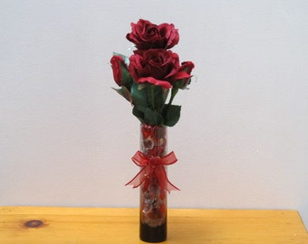 Burgurdy Roses & Buds in a Cylinder Glass Vase