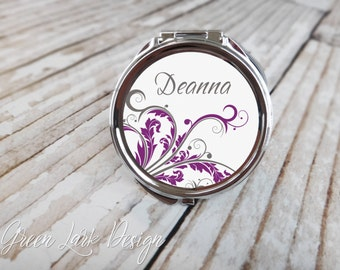 Bridesmaid Gift Personalized Compact Mirror - Arabesque in Purple & Gray