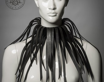 Rubber fringe collar / Up-cycled rubber tall collar / Avant garde recycled neck piece / Eco chic / Rivethead / Burning man / Postapocalyptic