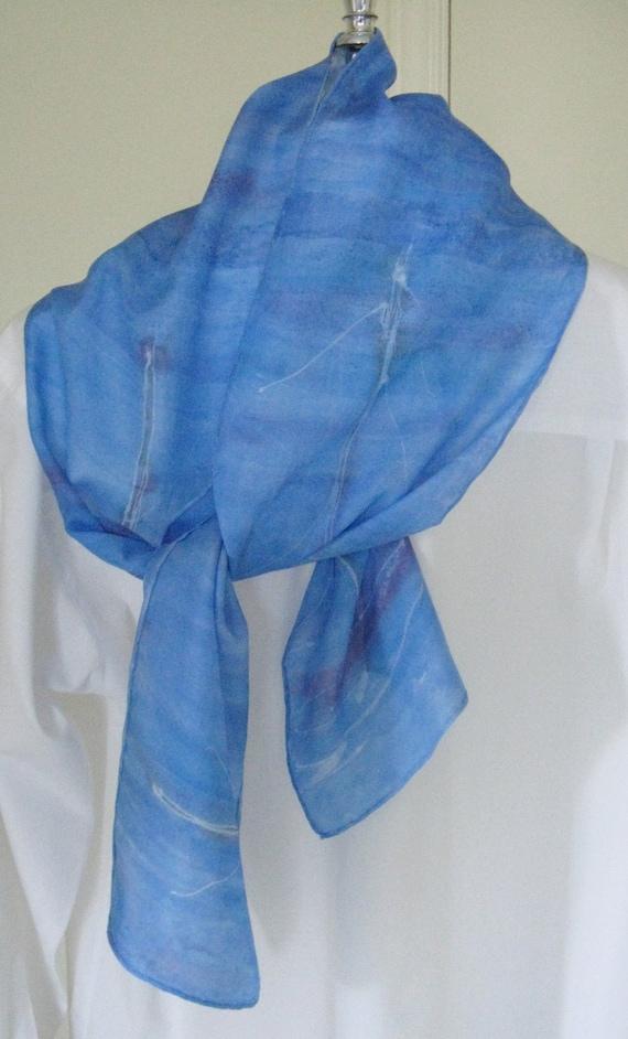 items similar to rowing painted silk scarf blue aqua