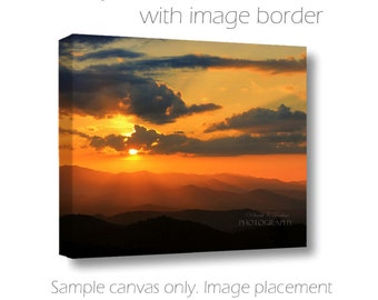 Landscape Photography-Fine Art Photography-Sunset Photograph-Mountains-Silhouette-Clouds-Golden Sky-Horizontal Canvas-Orange-Black-Yellow