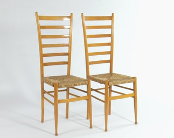 Modern Italian Gio Ponti Style Ladder Back Dining Chairs (Set of 2)