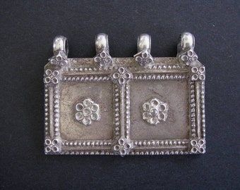 Antique Indian Amulet, Silver Rectangular House, Family Unity Symbol Pendant, Rajasthan, High Grade silver, Ethnic Tribal, 28.6 Grams, No. 1