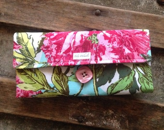 Handmade Wallet - Womens Wallet - Vegan Wallet - Aqua and Magenta Floral With Zipper Pocket, Ready to ship