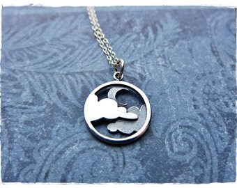 Silver Moon and Clouds Necklace - Sterling Silver Moon and Clouds Charm on a Delicate Sterling Silver Cable Chain or Charm Only