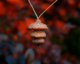 real acorn stack necklace - natural jewelry - pendant necklace - zen balance