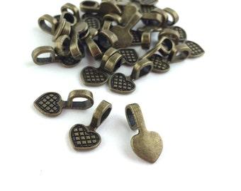200pcs Antique Bronze Heart Bails - Bulk Glue on Blank DIY Necklace Bails - Antique Bronze Jewelry Findings - Small Pendant Bail Blanks A25