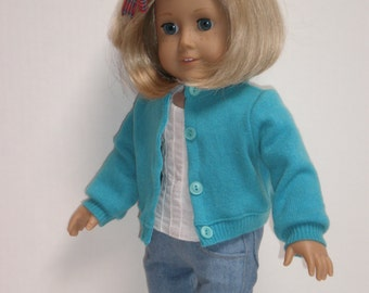 AQUA CASHMERE SWEATER Molly or Emily 18 inch doll clothes