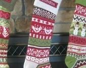 SIZE B  Ivory Bird Fair Isle Stocking --- Free Monogram --- Pottery Barn Knitted
