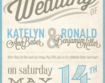 Rustic Typorgraphy Wedding Invite