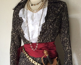 Deluxe Pirate Costume - Adult Women's Steampunk Pirate Captain Costume with Jewelry & Coat - xs