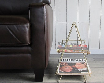Mid Century Modern Gold Metal Magazine Rack - Pyramid Shape