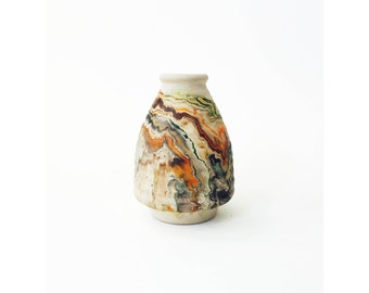 Vintage Nemadji Pottery Vase / Multicolor Swirls