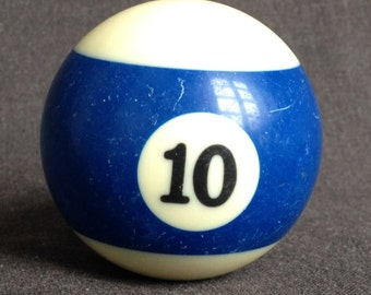 Lucky number 10. Vintage Blue and white striped pool ball.