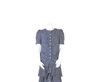 1980s Plus Size Dress • 80s Swiss Polka Dot Day Dress • XL XXL