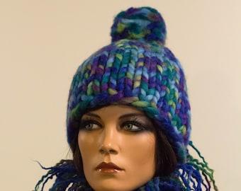 Chunky knitted hat wool blue purple green yellow multicolor warm winter  bulge pretty bright unisex Regina Doseth handmade Lithuania EU