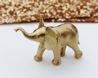 GOLD ELEPHANT Cake Topper Mini Small Figurines Animal Figurine Whimsical Magical Vintage Golden Carousel Carnival Safari Circus Birthday