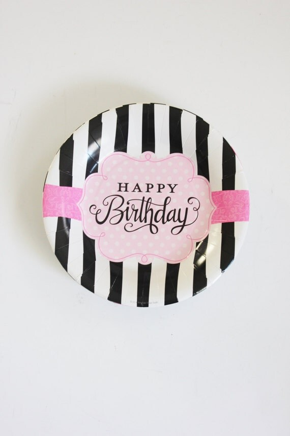 Set 8 BLACK u0026 WHITE STRIPED Pink Large Paper Plates Stripe Glam Parisian Chic Paris Designer Handbag Birthday Party Paris Chic Sweet 16 30th & Set 8 BLACK u0026 WHITE STRIPED Pink Large Paper Plates Stripe Glam ...