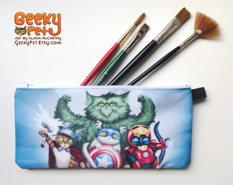 "Catvengers zippered pencil case 9"" x 4"""