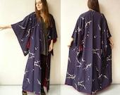 1960's Vintage Silk Japanese Deco Floral Full Length Kimono Robe Duster Jacket